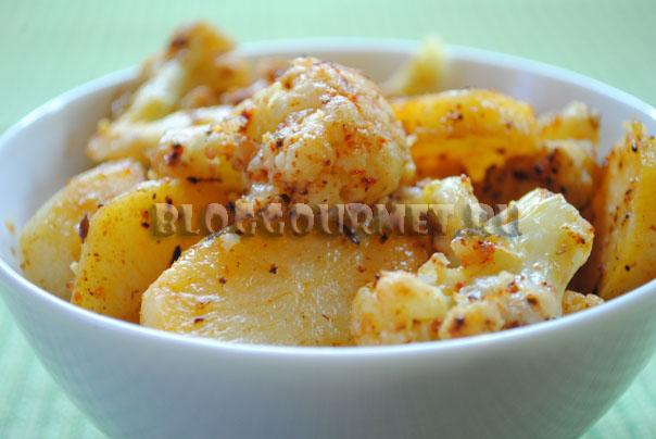 Соте из картофеля и цветной капусты с кумином