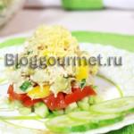 Слоеный салат с курицей