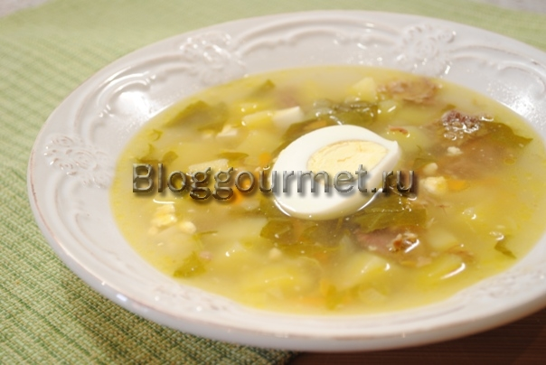 щавелевый суп с яйцом рецепт