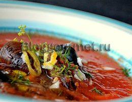 Густой томатный суп с мидиями