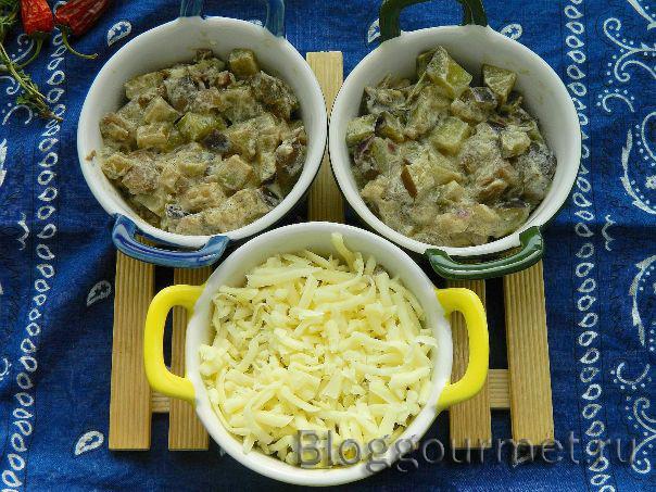 Жюльен из грибов и баклажанов , пошаговый рецепт с фото