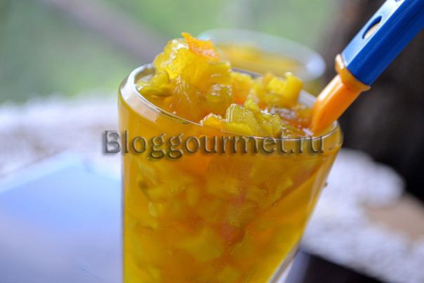 Варенье из кабачка, ревеня и цитрусовых