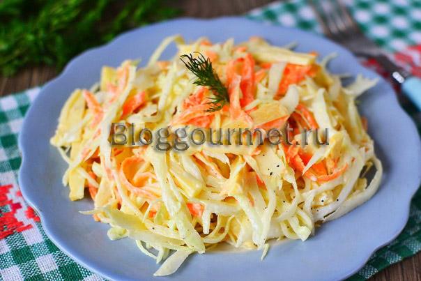 Капустный салат с копченым сыром и морковью