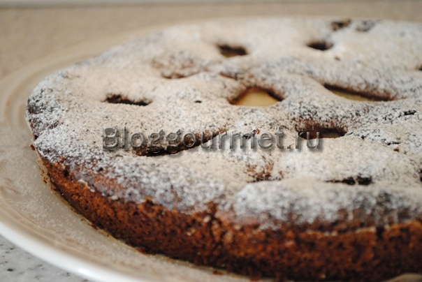 шоколадный пирог с грушами
