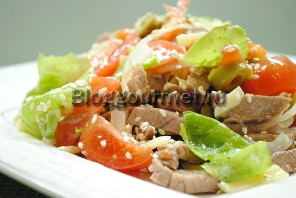 салат из говядины с овощами