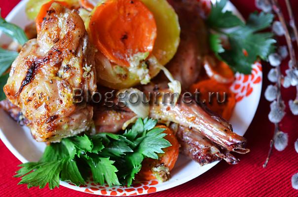 кролик с картошкой и сметаной в духовке