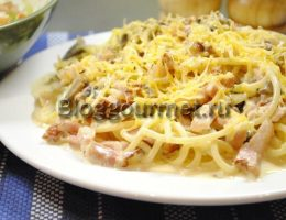 макароны в сливочном соусе с грибами