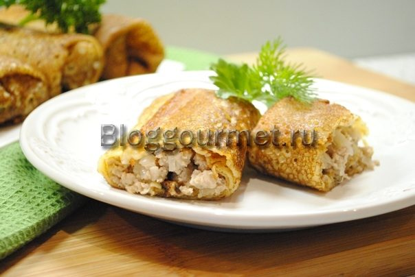 Блинчики с мясом: рецепт с фото пошагово