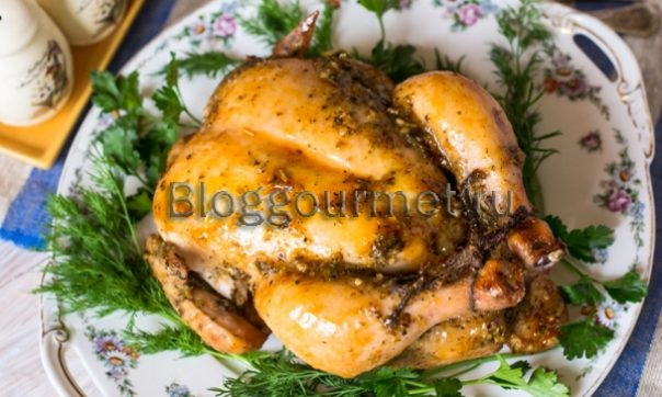 Курица с медом и горчицей, целиком запеченная в духовке